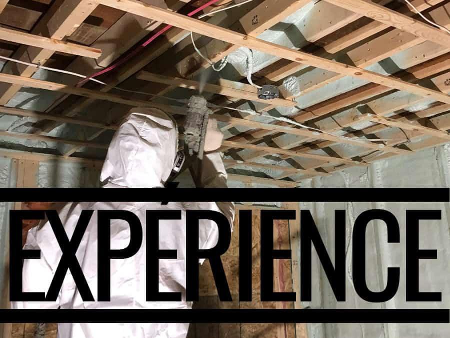 experience-isolation-mur-interieur-plafond-urethane-giclee Expérience en isolation depuis 20 ans pour maison, rénovation, commercial léger